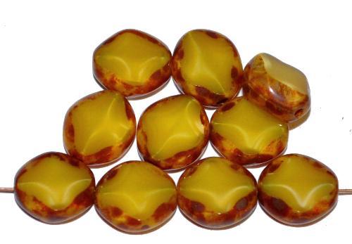 Best.Nr.:67181 Glasperlen / Table Cut Beads  geschliffen, Perlett gelb mit picasso finish,  hergestellt in Gablonz Tschechien
