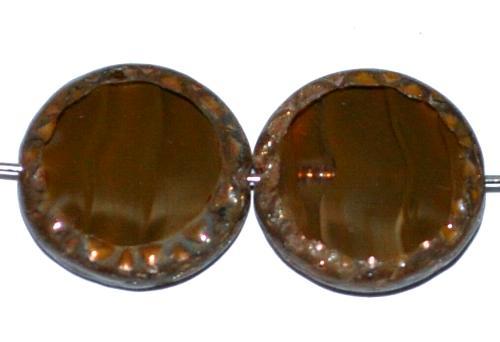 Best.Nr.:67523 Glasperlen / Table Cut Beads Scheiben geschliffen  Perlettglas oliv mit picasso finish,  hergestellt in Gablonz / Tschechien