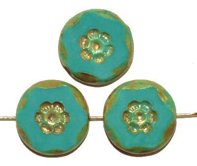 Best.Nr.:67529 Glasperlen geschliffen / Table Cut Beads, türkis opak, mit eingepägtem Blütenornament, und burning silver picasso finish