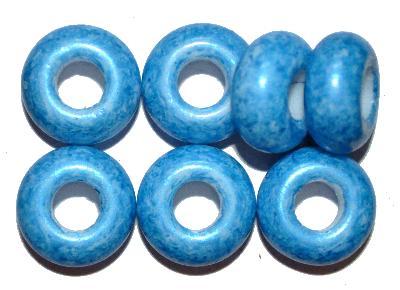 Best.Nr.:52037 Glasperlen mit großem Loch blau, hergestellt in Gablonz / Tschechien