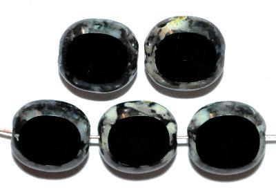 Best.Nr.:671297 Glasperlen / Table Cut Beads Olive geschliffen,  schwarz mit picasso finish