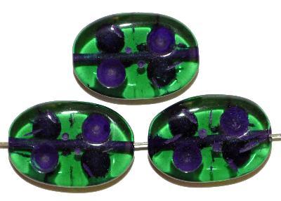 Best.Nr.:s-0016 Glasperlen hergestellt in Gablonz / Tschechien, Olive flach, grün transp. mit Farbauflage (eingebrannt)