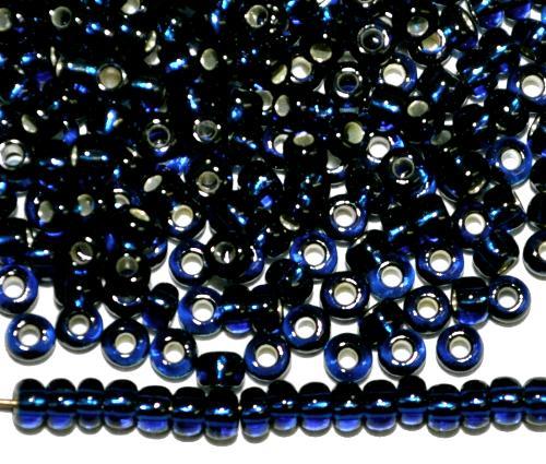 Best.Nr.:11043 Rocailles von Preciosa Ornella Tschechien,  montanablau transp. mit Silbereinzug