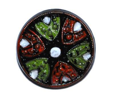 Best.Nr.:43389 Glasknopf, handgefertigt, handbemalt In Gablonz / Böhmen hergestellt. (nur einmal auf Lager)