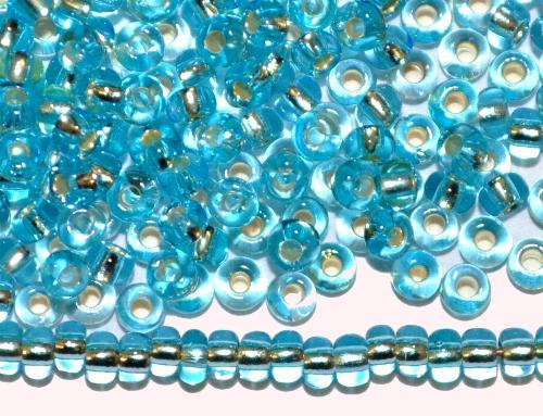 Best.Nr.:11080 Rocailles von Preciosa Ornella Tschechien,  türkis transp. mit Silbereinzug