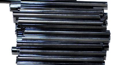 Best.Nr.:21036 Glasperlen / Stiftperlen, extra lang, von Preciosa Ornella Tschechien hergestellt, schwarz mit lüster