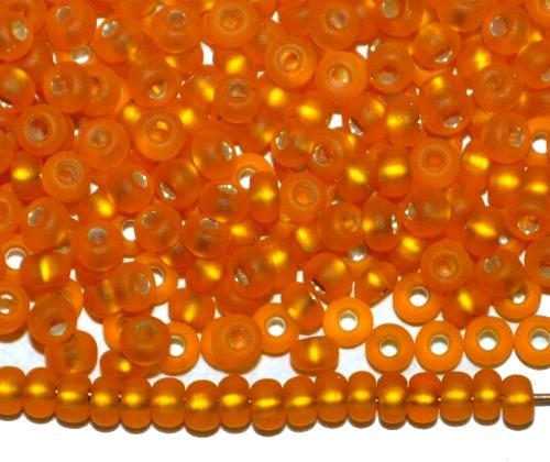 Best.Nr.:11098 Rocailles von Ornella Preciosa Tschechien,  orange mattiert (frostet) mit Silbereinzug
