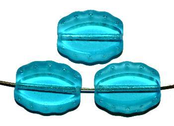 Best.Nr.:671299 Glasperlen / Table Cut Beads geschliffen, türkisblau, Rand mattiert (frostet), nach alten Vorlagen aus den 1930/40 Jahren neu gefertigt