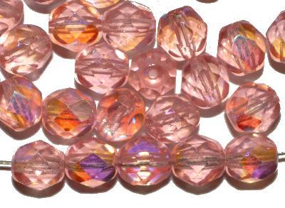 Best.Nr.:28397 facettierte Glasperlen, rosa  transp. mit AB, hergestellt in Gablonz / Tschechien