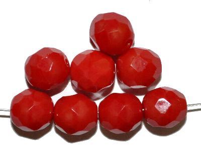 Best.Nr.:27507 facettierte Glasperlen, rot opak, in Gablonz/Böhmen hergestellt,