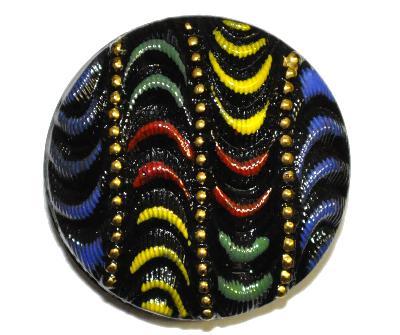 Best.Nr.:43139  Glasknopf, handgefertigt, handbemalt  In Gablonz / Böhmen hergestellt.  (nur wenige auf Lager)