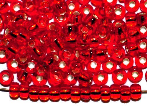 Best.Nr.:11128 Rocailles von Preciosa Ornella Tschechien,  rot transp. mit Silbereinzug