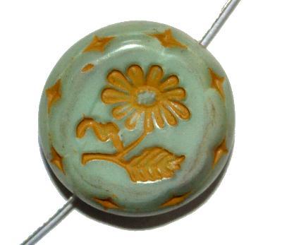 Best.Nr.:59080 vintage style Glasperlen, mit eingeprägter Blüte , nach alten Vorlagen aus den 1930 Jahren in Gablonz/Böhmen neu gefertigt,