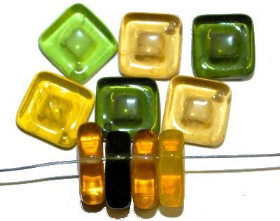 Best.Nr.:s-0054  Glasperlen Quadrate,  Farbmix,  hergestellt in Gablonz Tschechien,
