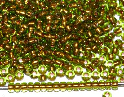 Best.Nr.:11169 Rocailles von Preciosa Ornella Tschechien, oliv mit Goldeinzug