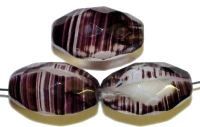 Best.Nr.:26189 Glasperlen geschliffen Oliven violett weiß, hergestellt in Gablonz / Tschechien