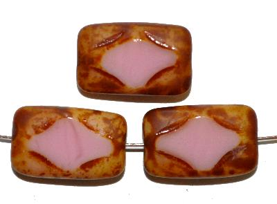 Best.Nr.:671372 Glasperlen / Table Cut Beads geschliffen, rosa opak, mit picasso finish, hergestellt in Gablonz / Tschechien,