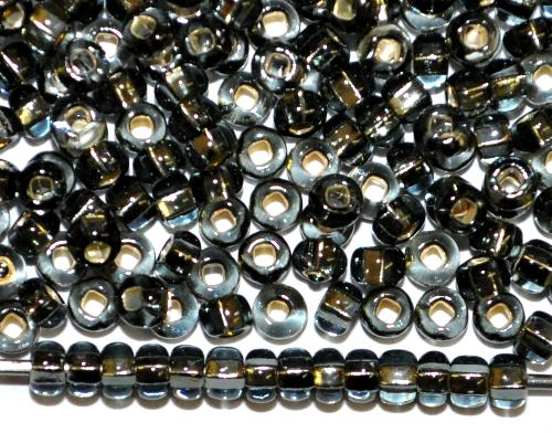 Best.Nr.:11206 Rocailles von Preciosa Tschechien  blackdiamond mit Silbereinzug