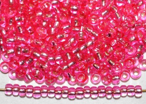 Best.Nr.:11208 Rocailles von Preciosa Ornella Tschechien,  pink transp. mit Silbereinzug