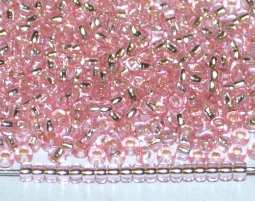 Best.Nr.:11209 Rocailles von Preciosa Ornella Tschechien, light rosa transp. mit Silbereinzug