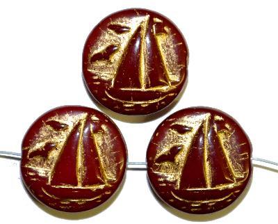 Best.Nr.:59233 Vintagestyle Glasperlen  rotbraun opak mit Goldauflage,  nach alten Vorlagen aus den 1940/50 Jahren neu gefertigt in Gablonz / Tschechien