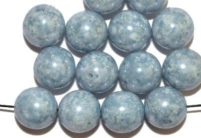 Best.Nr.:22006 Glasperlen rund, graublau mit lüster, Hergestellt in Gablonz / Böhmen