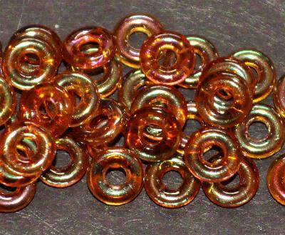 Best.Nr.:0018 Glasperlen Ringe, Spacer, topas mit light AB, hergestellt in Gablonz / Tschechien