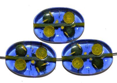 Best.Nr.:s-0011 Glasperlen hergestellt in Gablonz / Tschechien, Olive flach, blau transp. mit Farbauflage (eingebrannt)