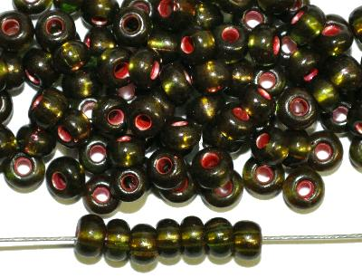 Best.Nr.:12144 Rocailles von Preciosa Tschechien, oliv transp. mit Silber-Kupfereinzug,