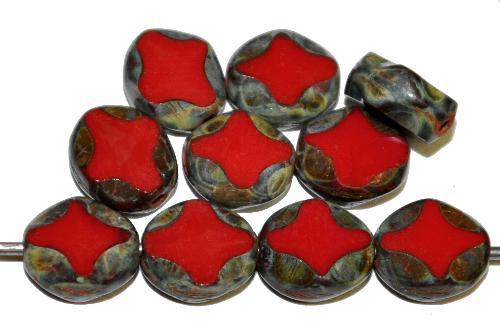 Best.Nr.:671440 Glasperlen / Table Cut Beads  geschliffen, dunkelrot opak mit picasso finish,  hergestellt in Gablonz Tschechien