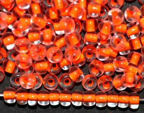 Best.Nr.:12017  Rocailles von Preciosa Ornella,  kristall mit Farbeinzug neon orange,  hergestellt in Gablonz / Tschechien