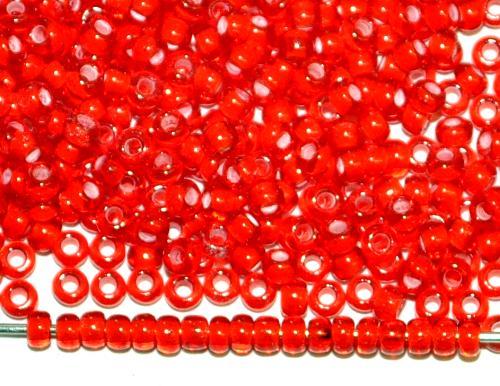 Best.Nr.:12024 Rocailles von Ornella Preciosa Tschechien, rot transp. mit Farbeinzug weiß