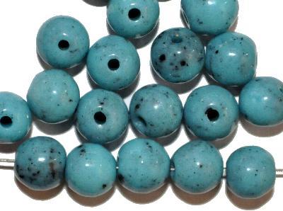 Best.Nr.:63846 Glasperlen rund, in den 1930/40 Jahren in Gablonz/Böhmen hergestellt, türkis (Prosserbeads)