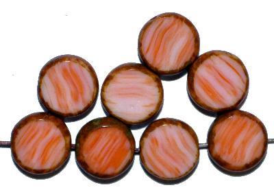 Best.Nr.:65068 Glasperlen / Table Cut Beads geschliffen, orange meliert, mit picasso finish