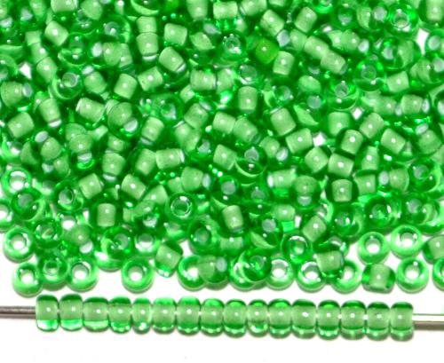 Best.Nr.:12078 Rocailles von Ornella Preciosa Tschechien, grün transp. mit Farbeinzug weiß