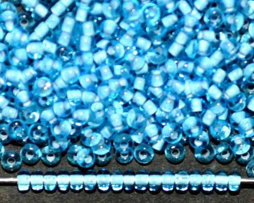 Best.Nr.:12086 Rocailles von Ornella Preciosa Tschechien, hellblau transp. mit Farbeinzug weiß