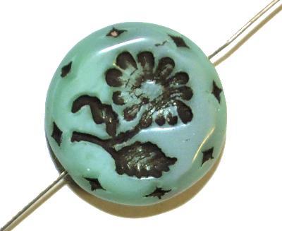 Best.Nr.:59218 vintage style Glasperlen, mint opak mit eingeprägter Blüte ,  nach alten Vorlagen aus den 1930 Jahren in Gablonz/Böhmen neu gefertigt,