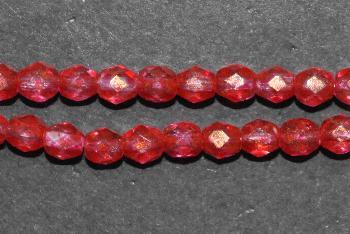 Best.Nr.:24140 facettierte Glasperlen, mit Wachsüberzug rot, hergestellt in Gablonz / Böhmen