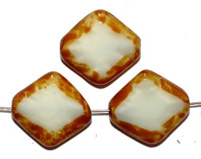 Best.Nr.:67923 Glasperlen / Table Cut Beads Perlettglas ecru, geschliffen mit picasso finish