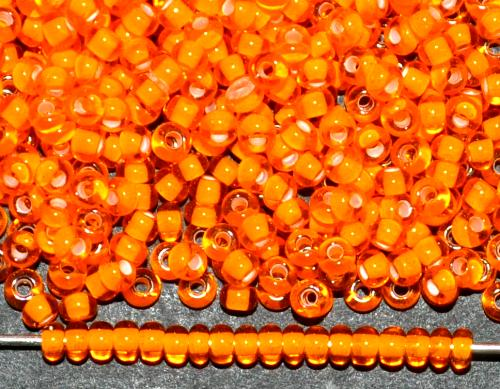 Best.Nr.:12130 Rocailles von Ornella Preciosa Tschechien, orange transp. mit Farbeinzug weiß