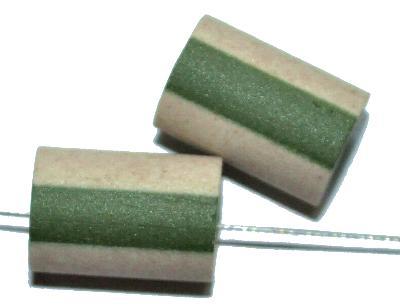 Best.Nr.:75014 vintage Keramikperlen, grün beige mattiert, um 1960 in Gablonz/Böhmen hergestellt