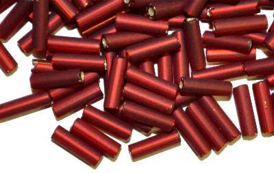 Best.Nr.:21170 Glasperlen / Stiftperlen  von Preciosa Ornella Tschechien hergestellt,  rot mattiert (frostet) mit Silbereinzug