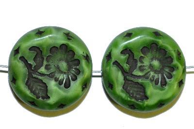 Best.Nr.:59100 vintage style Glasperlen, mit eingeprägter Blüte , nach alten Vorlagen aus den 1930 Jahren in Gablonz/Böhmen neu gefertigt,