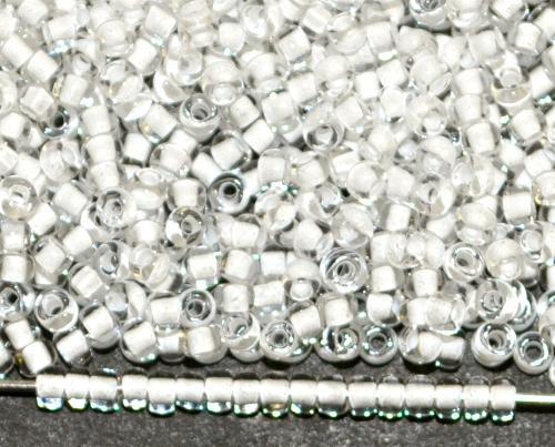 Best.Nr.:12153 Rocailles von Ornella Preciosa Tschechien, kristall transp. mit Farbeinzug weiß