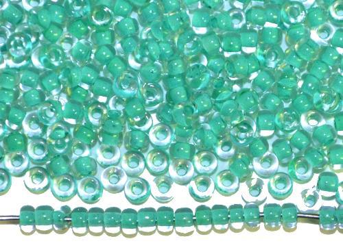 Best.Nr.:12153 Rocailles von Preciosa Ornella,  kristall mit Farbeinzug smaragdgrün,  hergestellt in Gablonz / Tschechien