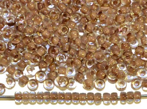 Best.Nr.:12155  Rocailles von Preciosa Ornella,  kristall mit Farbeinzug braun,  hergestellt in Gablonz / Tschechien