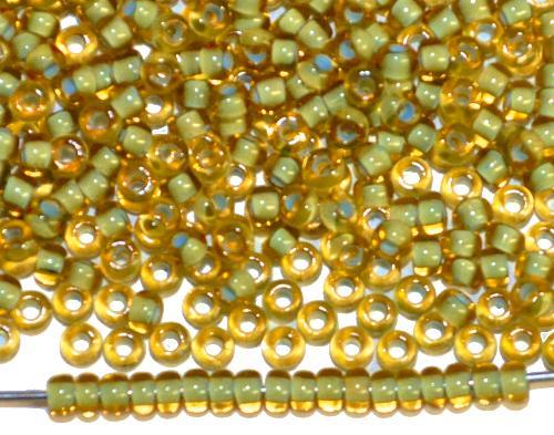 Best.Nr.:12156  Rocailles von Preciosa Ornella,  gelb transp. mit Farbeinzug russischgrün, hergestellt in Gablonz / Tschechien