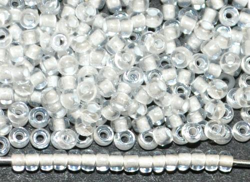 Best.Nr.:12168 Rocailles von Ornella Preciosa Tschechien,  kristall mit Farbeinzug weiß und lüster