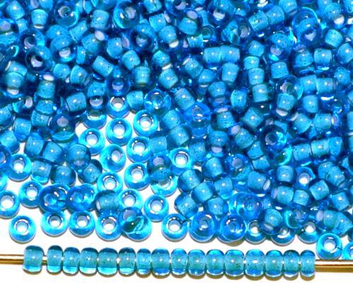 Best.Nr.:12168 Rocailles von Ornella Preciosa Tschechien, blau transp. mit Farbeinzug weiß