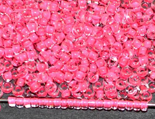 Best.Nr.:12169 Rocailles von Ornella Preciosa Tschechien, kristall mit Farbeinzug neonpink